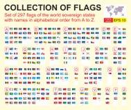 Metta di 297 bandiere degli stati sovrani del mondo con i nomi in ordine alfabetico A - Z Illustrazione di vettore royalty illustrazione gratis