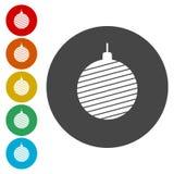 Metta di bei ornamenti di natale del colorfull di vettore illustrazione di stock