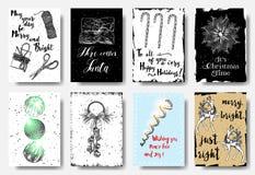 Metta di 8 carte disegnate a mano Manifesti di Natale messi Allegro e Brig illustrazione di stock