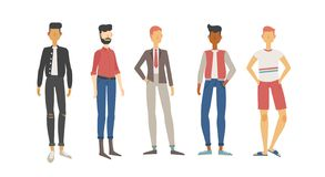 Metta di cinque uomini immagini stock libere da diritti