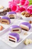 Metta di cuore viola ha modellato i dolci della mousse con i vari materiali da otturazione fotografia stock libera da diritti