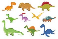 Metta di 10 dinosauri svegli nello stile del fumetto royalty illustrazione gratis