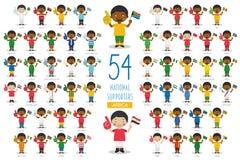 Metta di 54 fan nazionali dello sport di squadra dall'illustrazione di vettore dei paesi africani illustrazione vettoriale