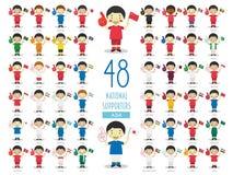 Metta di 48 fan nazionali dello sport di squadra dall'illustrazione di vettore dei paesi asiatici illustrazione vettoriale
