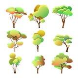 Metta di forma differente degli alberi variopinti con le foglie illustrazione vettoriale