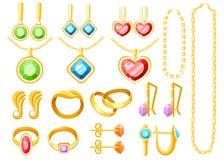 Metta di gioielli dorati Anelli, orecchini, catene e collezioni dorati delle collane Accessori dei gioielli del fumetto Illustraz illustrazione vettoriale