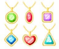 Metta di gioielli dorati Collezioni delle collane con il quadrato, il cerchio, il cuore ed i pendenti del diamante del triangolo  illustrazione di stock