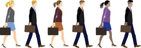 Metta di giovani uomo d'affari e donna di affari Walking Side View - illustrazione di vettore illustrazione vettoriale