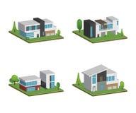 Metta di isometrico e delle case 3D quattro e della progettazione moderna delle case illustrazione di stock