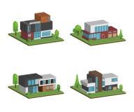 Metta di isometrico e delle case 3D quattro e della progettazione moderna delle case illustrazione vettoriale
