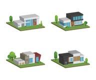Metta di isometrico e delle case 3D quattro e della progettazione moderna delle case royalty illustrazione gratis