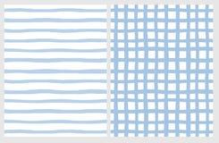 Metta di 2 modelli geometrici irregolari disegnati a mano Bande blu e griglia su un bianco illustrazione vettoriale