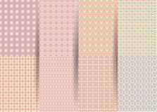 Metta di 6 modelli geometrici a quadretti senza cuciture astratti Ackground geometrico di rosa di vettore per i tessuti, stampe,  illustrazione vettoriale