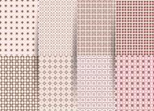 Metta di 6 modelli geometrici a quadretti senza cuciture astratti Ackground geometrico di rosa di vettore per i tessuti, stampe,  fotografia stock libera da diritti