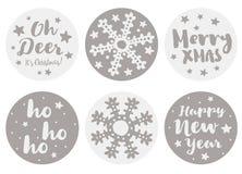 Metta di 6 Natale di forma rotonda ed autoadesivi svegli di vettore del buon anno illustrazione vettoriale