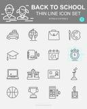 Metta di nuovo alla linea icone di vettore della scuola Include il bus, la borsa, la biologia, l'orologio, chimica e più illustrazione di stock