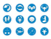 Metta di 12 segni di zodiaco horoscope Previsione del futuro Isolato su priorit? bassa bianca royalty illustrazione gratis