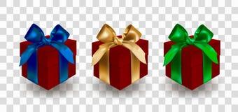 Metta di tre contenitori rossi di regalo chiuso bendati con gli archi eleganti blu, dorati e verdi con i nodi Oggetto isolato su  illustrazione vettoriale