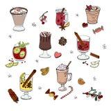 Metta di vari dessert e bevande tradizionali dell'inverno Modello per la stagione e la progettazione di natale, cartoline d'augur illustrazione vettoriale