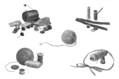 Metta di vari rifornimenti di cucito, isolato su bianco fotografia stock libera da diritti