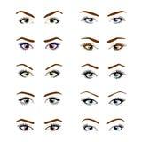 Metta di vari tipi di occhi femminili di colore illustrazione vettoriale