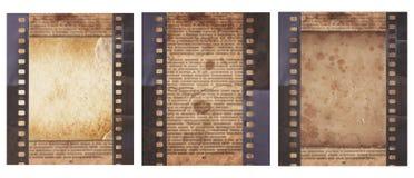 Metta di vario vecchio fondo d'annata con il retro giornale e vecchia la striscia di pellicola isolati fotografia stock libera da diritti
