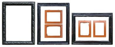 Metta di vecchi telai di legno isolati su fondo bianco, percorso di taglio fotografia stock