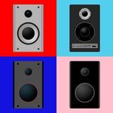 Metta gli altoparlanti di musica delle icone Immagini Stock Libere da Diritti