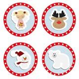 Metta gli autoadesivi di Natale del bambino Raccolta delle etichette dei distintivi illustrazione vettoriale