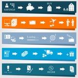 Metta gli elementi del infographics ed i diagrammi dei processi aziendali Immagini Stock Libere da Diritti