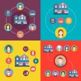 Metta gli elementi del viaggio e di couchsurfing di infographics Fotografie Stock