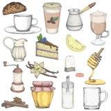 Metta gli elementi di vettore del caffè e del tè illustrazione vettoriale