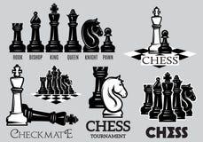 Metta gli emblemi ed i segni per il torneo di scacchi Fotografia Stock