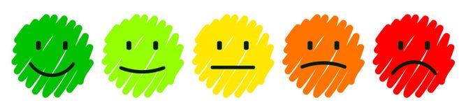 Metta gli smilies colorati tirati, fissi l'emozione sorridente, dagli smilies, emoticon del fumetto - vettore illustrazione di stock