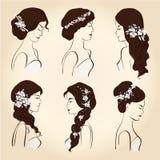 Metta i capelli con i fiori per i brunettes illustrazione vettoriale