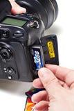 Metta i CF dei flash card nella macchina fotografica di DSLR Fotografie Stock