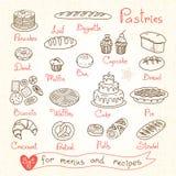 Metta i disegni delle pasticcerie e del pane per progettazione illustrazione vettoriale