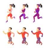 Metta i giovani di sport corrente degli abiti sportivi differenti immagini di vettore degli atleti Immagini Stock