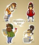 Metta i nerd dei pantaloni a vita bassa con gli aggeggi e senza Fotografia Stock