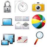 Metta 14 icone realistiche di vettore Fotografie Stock