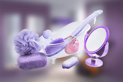 Metta il bagno e rilassi i prodotti - articoli da toeletta fotografia stock