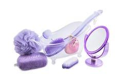 Metta il bagno e rilassi i prodotti - articoli da toeletta immagine stock libera da diritti