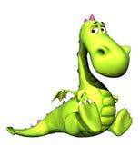 Metta il bambino a sedere Dino del drago verde Immagine Stock