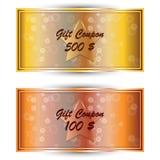 Metta il buono del regalo dell'oro, carta di regalo Fotografia Stock Libera da Diritti