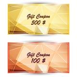Metta il buono del regalo dell'oro, carta di regalo Fotografie Stock Libere da Diritti