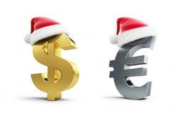 Metta il cappello o di Santa del segno dell'euro e del dollaro Fotografia Stock Libera da Diritti