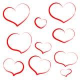 Metta il cuore di tiraggio della mano nel profilo rosso Cuori per nozze, valentin Immagini Stock Libere da Diritti
