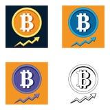 Metta il grafico del bitcoin di vettore su fondo Illustrazione di vettore di concetto di campagna pubblicitaria di Bitcoin con sp Fotografia Stock Libera da Diritti