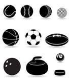 Metta il illu nero di vettore della siluetta delle palle di sport delle icone Fotografie Stock Libere da Diritti