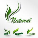 Metta il logos di Eco, il prodotto naturale, icona naturale Fotografia Stock